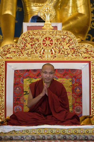 6.3.15-KTD-Karmapa-in-front-of-the-Buddha-Statue